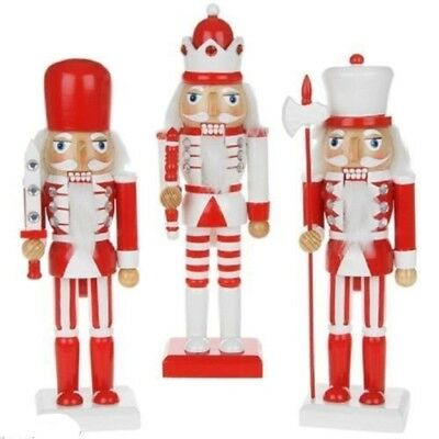 "NUTCRACKER SOLDIER RED/WHITE or BLACK/WHITE CHOICE OF STYLE AND SIZE 10"" OR 15"""
