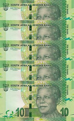 LOT, South Africa 10 Rand (2012) p133 x 5 Pieces UNC