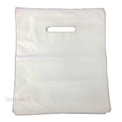 """50 White Plastic Carrier with Patch Handle Bags Medium Size 15"""" x 18"""" + 3"""""""