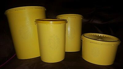 Vintage 4 piece Tupperware Canister Set Daffodil Yellow w/ Servalier Lids EC