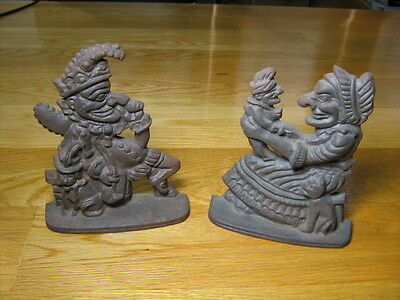 Antique Cast Iron Bookends, Punch & Judy