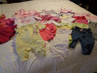 Huge Lot Girls 0-3 Months Clothes(S1)Tops,pants,sleepers/pajamas,hooded Jackets