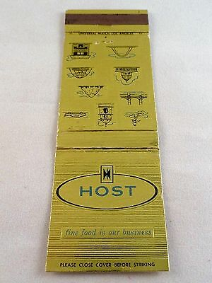 Matchbook Cover ~ HOST - SERVING THE AIR TRAVELER Various Airports Front Strk 20