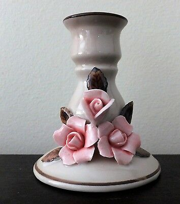 Vintage Porcelain Capodomonte Candle holder with pink roses
