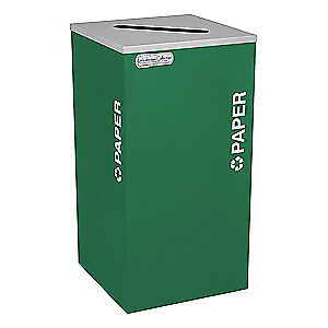 TOUGH GUY Steel, Plastic Recycling Container,Green,24 gal., 5UJC8, Green