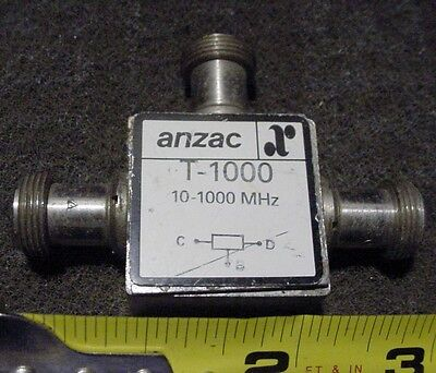 """Anzac Microwave RF Splitter T-1000, 10-1,000 Mhz with N Connectors. 3"""" X 2-1/2"""""""