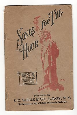 Advertising Patriotic Song Book  Songs For The Hours Sc Wells Mustarine Leroy Ny