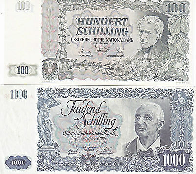REPRODUKTION/REPLICAS---1000  and 100 SCHILING--UNC