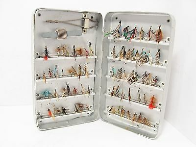 Vintage Antique Early Wheatley Kilroy Patent Fly Box Case & 72 x Trout Flies