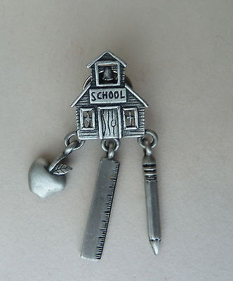 School House Pin with Apple Ruler and Pencil Lapel Hat Pin