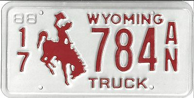 Wyoming 1988 License Plate -- Campbell County - 17 784 AN