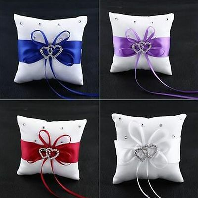 Ribbon Double Cushion Satin Party White Crystal Pillow Wedding Ring Bearer