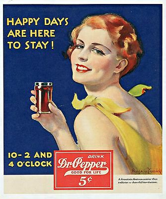 1931 Vintage Dr Pepper Ad Matted and Framed  Art Deco and Very Colorful