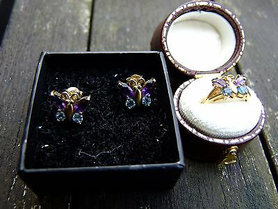 Gold, Amethyst and Topaz Butterfly Ring and Earrings. Earrings were £67 new.