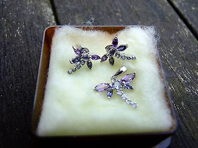 Fine, deliicate White Gold, Amethyst and Topaz Butterfly Earrings and Pendant