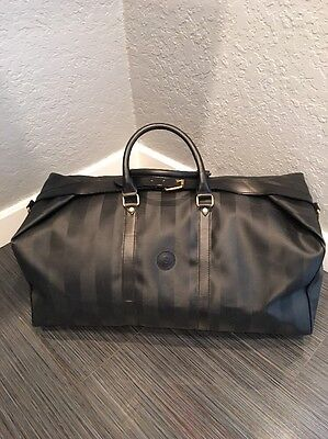 Fendi Extra Large Black & Gray Tobacco Stripe Pequin Duffel Weekender Luggage