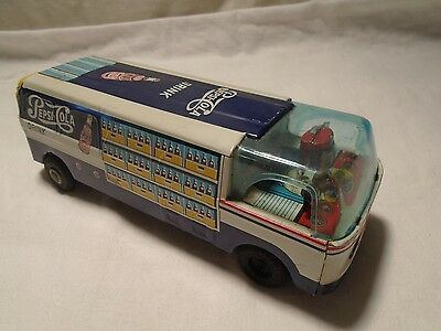 Vintage Pepsi Cola Delivery Tin Van Made in Japan Great Graphic Advertising