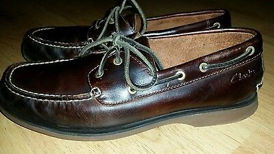 Mens mahogany brown real leather deck style shoes by CLARKS Size 6.5