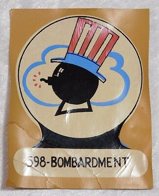 Vtg WWII 598 Bombardment Uncle Sam Cartoon Canvas Bomber Jacket Patch