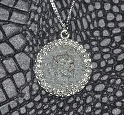 Roman Empire Authentic Ancient Imperial Radiate Coin Sterling Silver Necklace