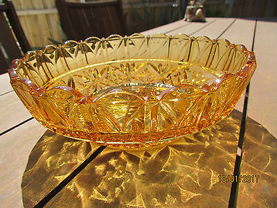 Vintage Large Amber Crystal Cut Bowl Excellent Condition