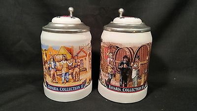 Vintage Stroh's Bavaria Collection Lidded Beer Steins Ii & Iii