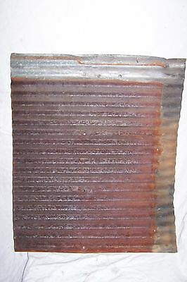 "Vintage Corregated RUSTY TIN 26"" x 22"" Repurpose Architectural Salvage Crafts"