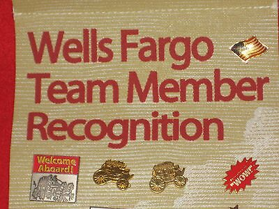Wells Fargo Team Member Recognition banner with pins circa 2006/2007