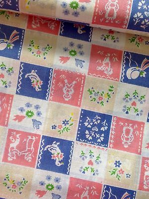 Pink & Blue Country Squares 100% Cotton Quilting fabric - Per metre