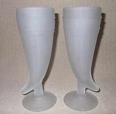 2- Indiana Glass Tiara Frosted Glass Drinking Horn Pisner Glasses -Viking