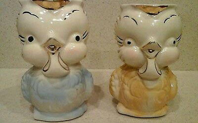 2 Vintage chicken rooster owl Shawnee pottery pitchers