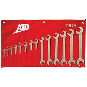 """ATD 4-way Open End Angle Wrench Set SAE 14pc 3/8"""" to 1-1/4"""" #1181"""