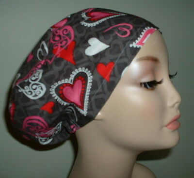 Valentine Lace Hearts Gray Red Pink OR European Scrub Hat Chef CORT CNOR MD CRNA