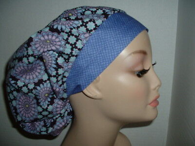 Kaleidoscope Medallions Lavender Black OR Surgical Bouffant Scrub Hat CNOR CORT