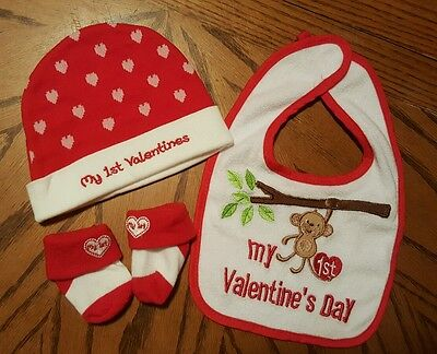 4 Pc Baby Girl Boy My 1st First Valentine's Day Bib Hat Socks Heart Monkey 0-6 M