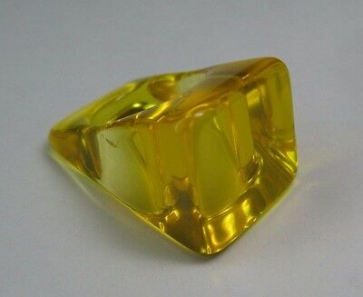 Vintage Translucent/Clear Bright Yellow Lucite Ring - Liquid Look - Size 7