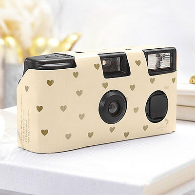 10 Ivory Gold Hearts Disposable Wedding Table Camera Cameras Lot Q17295