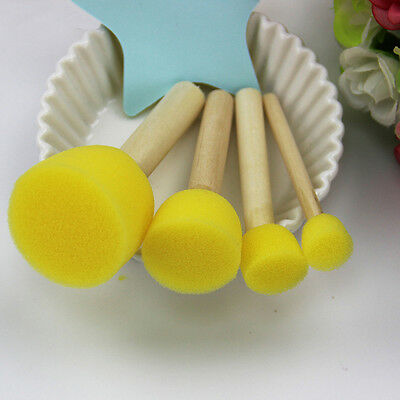 4Pcs Kid Sponge Paint Brush Original Wooden Handle Painting Graffiti Early Toy