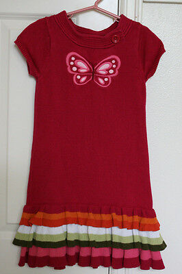 Gymboree BUTTERFLY GIRL Girls Size 7 Pink Sweater Dress Short Sleeve Tiers EUC