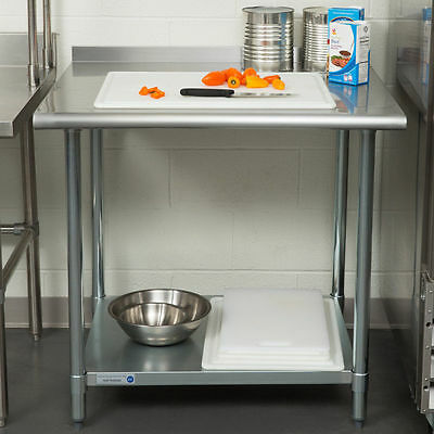 "NEW!! 30"" x 36"" Stainless Steel Work Prep Table Undershelf Restaurant Backsplash"