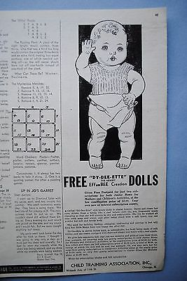 Vintage 1935 Magazine Advertisement DY~DEE~ETTE BABY ~ EFFanBEE Creation Doll
