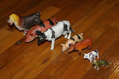 toy farm country animals plastic lot 7 cow dog pig