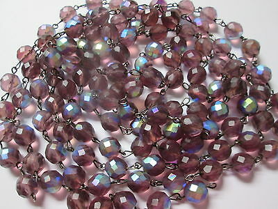 """Vintage 10mm Czech Glass Faceted Amethyst Matte AB Bead Chain Chandelier 81"""""""