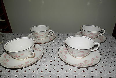 Vintage Lot 4 Pope Gosser Cups, Saucers, Sterling pattern, Small Pink Flowers