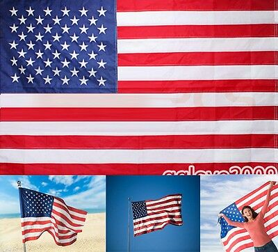 American Flag 3'x5' FT USA US U.S. Sewn Stripes Embroidered Stars Brass Grommets