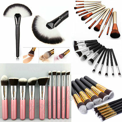 10pcs Kabuki Professional Make up Brushes Set Foundation Blusher Face Powder