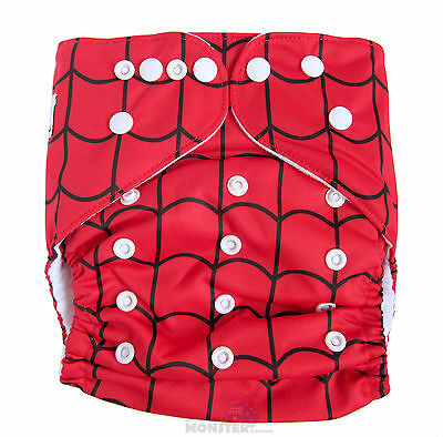Junior XL Modern Cloth Nappy FREE Insert, Baby Toddler up to 20kg - Spiderweb
