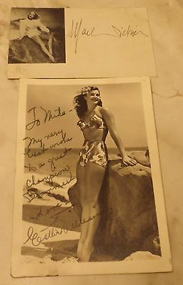 Vintage original autographed photo of Esther Williams with note to WW2 soldier