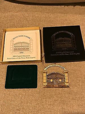 """2003 Texas State Capitol """"Front Gate"""" Christmas Ornament - MIB, box, paperwork"""