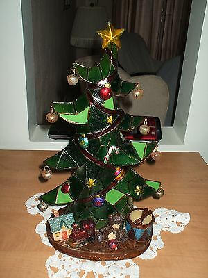 "Vintage 15-1/2"" ~ 1-Pc. Stain Glass Type Light-Up Christmas Tree"
